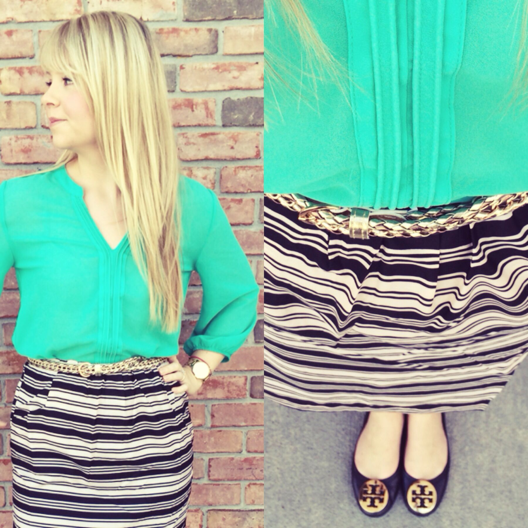 Tory Burch Revas, mint green top, striped skirt, prints