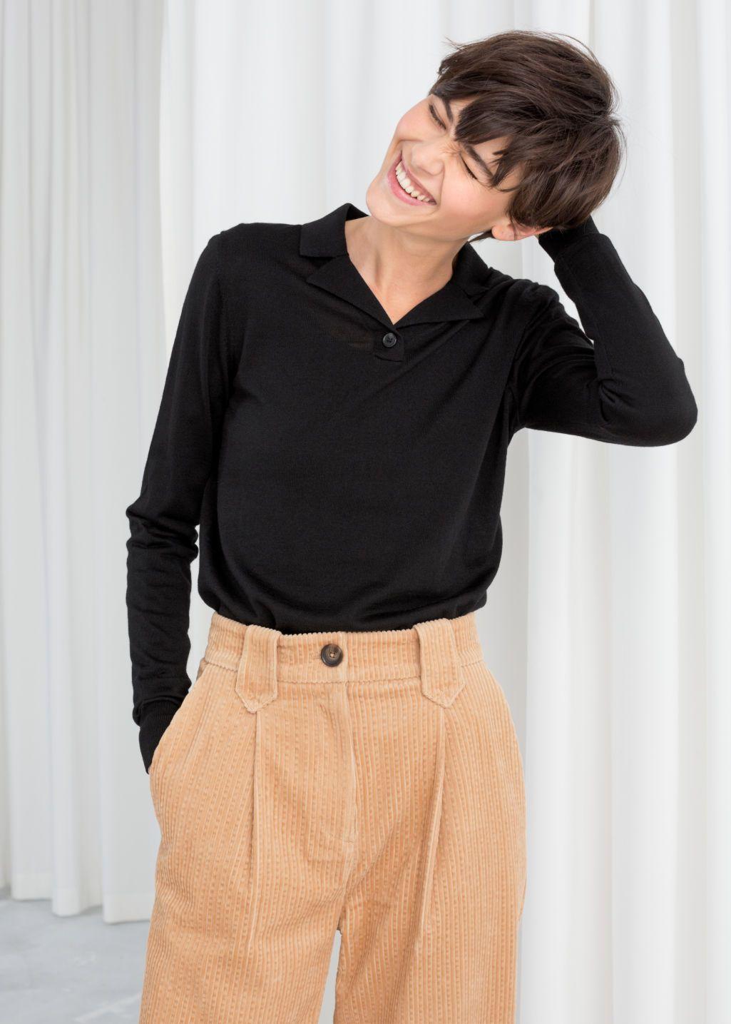 Merino Wool Polo Top
