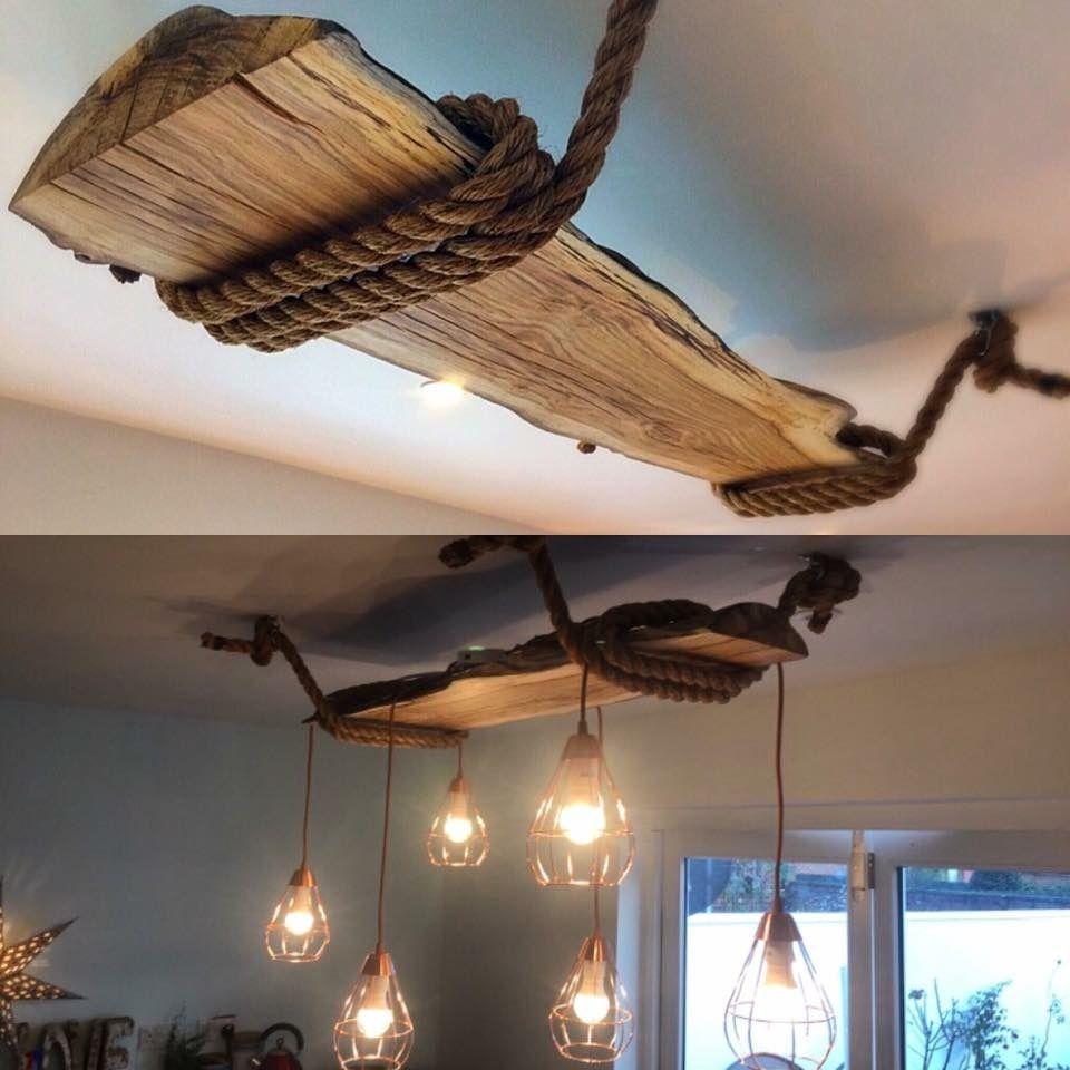 Lámpara rústica  Treibholz deko, Rustikales haus, Rustikale