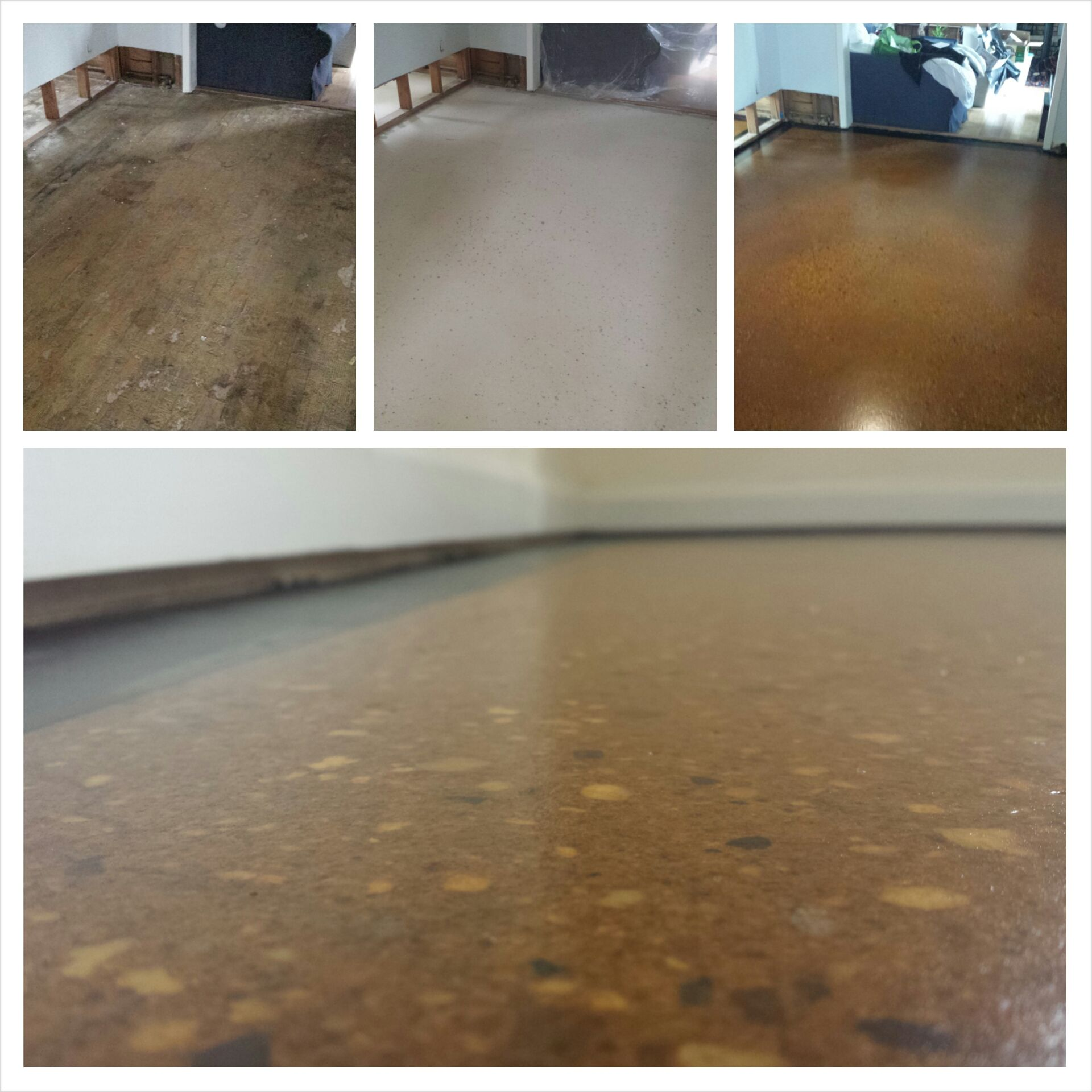 Project Spotlight:  Before, during, after, and a  detail shot of our RAW S flooring system in Sand and Burnt Sienna stain and a satin finish.