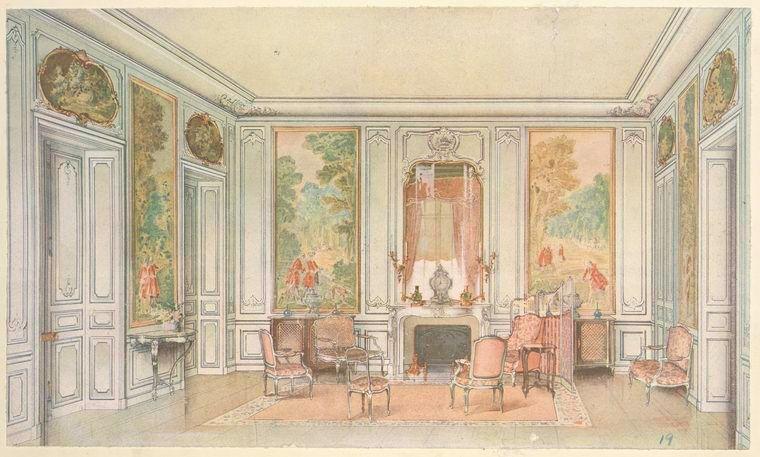 Georges Remon illustration Salon Louis XV, peint en gris vert