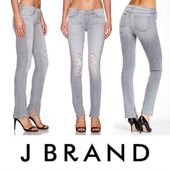 fdd6fea5 J Brand Denim - J Brand Mid-rise Skinny Rail Jeans Sweet (grey) 25 ...