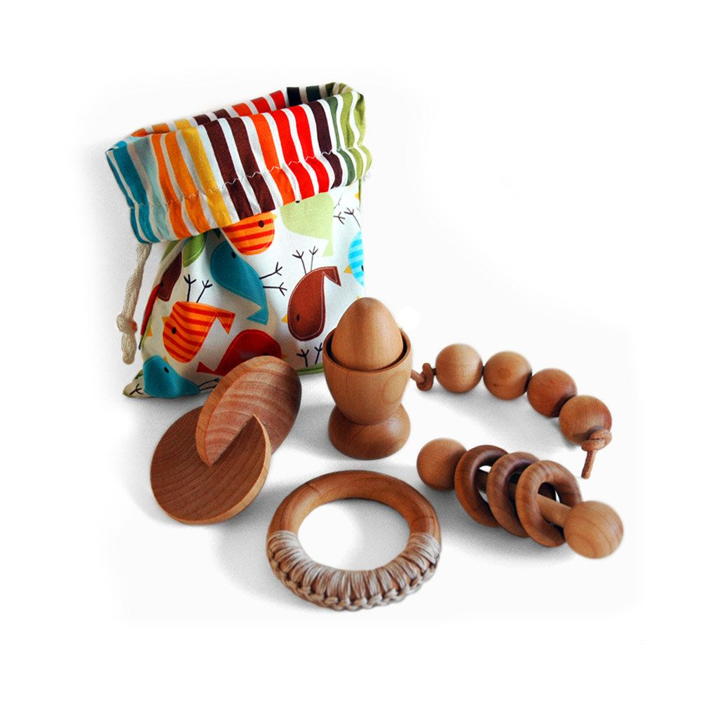 Montessori Baby Toy Gift Set, 5 Natural Wooden Teething ...