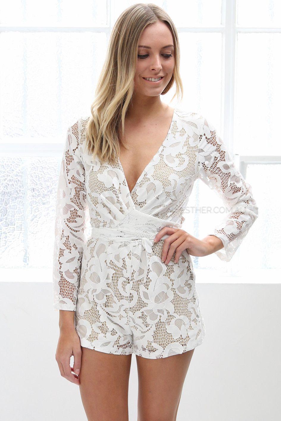 winona lady lace playsuit - white - sale