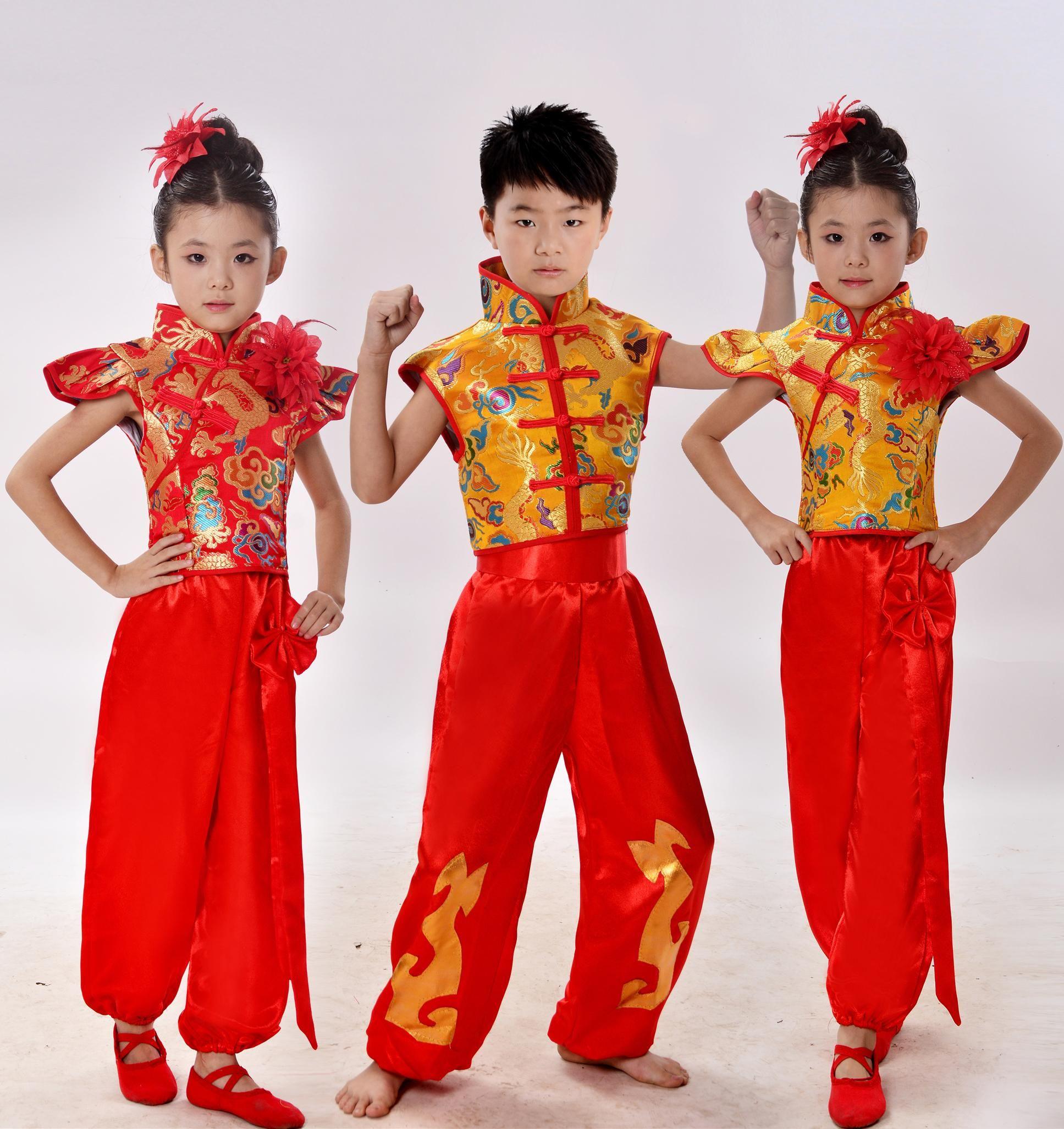 81f724286 Children Chinese Red Costumes Dancewear Yangko Dance Costumes Girls ...