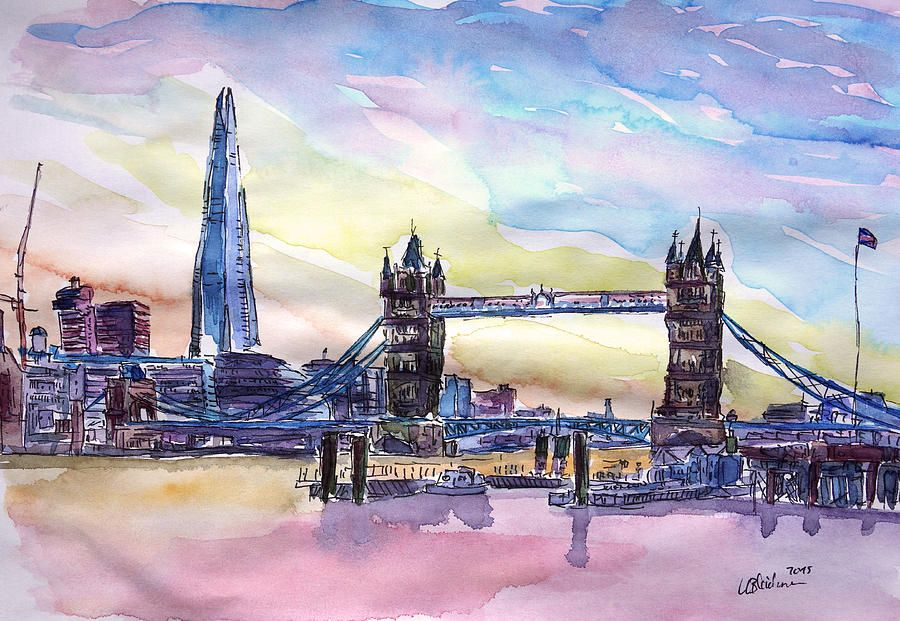 London Tower Bridge With The Shard Watercolor Art By M Bleichner Stretched Canvas Prints Art Painting