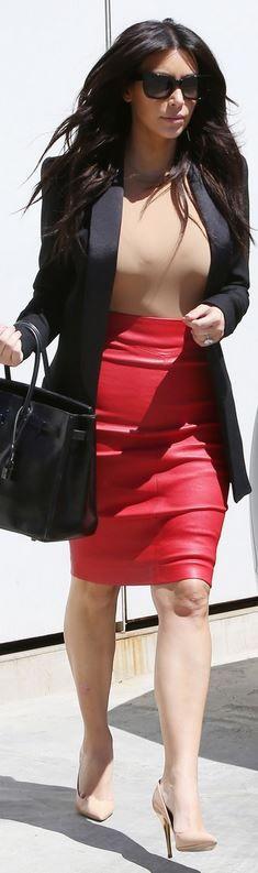 Kim Kardashian: Purse – Hermes  Skirt – Joseph  Shoes – Saint Laurent  Sunglasses – Celine  Shirt – Maison Martin Margiela