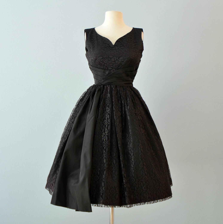 Vintage 1950S Party Dresscandy Jrs Black Lace Party Dress Cocktail