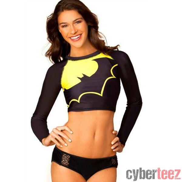 ce632d30b230 cyberteez.com - Batgirl Batman Rash Guard Surf Top Bathing Suit Womens  Juniors Girls Swimwear