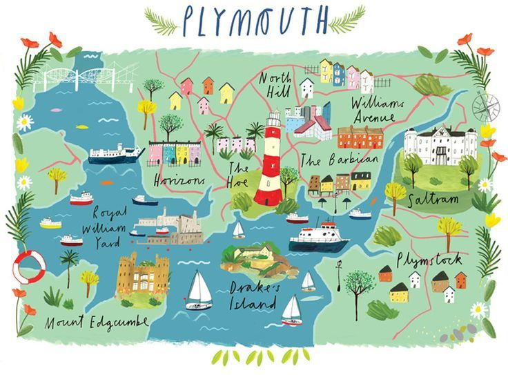 Map Of England Plymouth.Clair Rossiter Map Of Plymouth Painted Maps In 2019 Plymouth