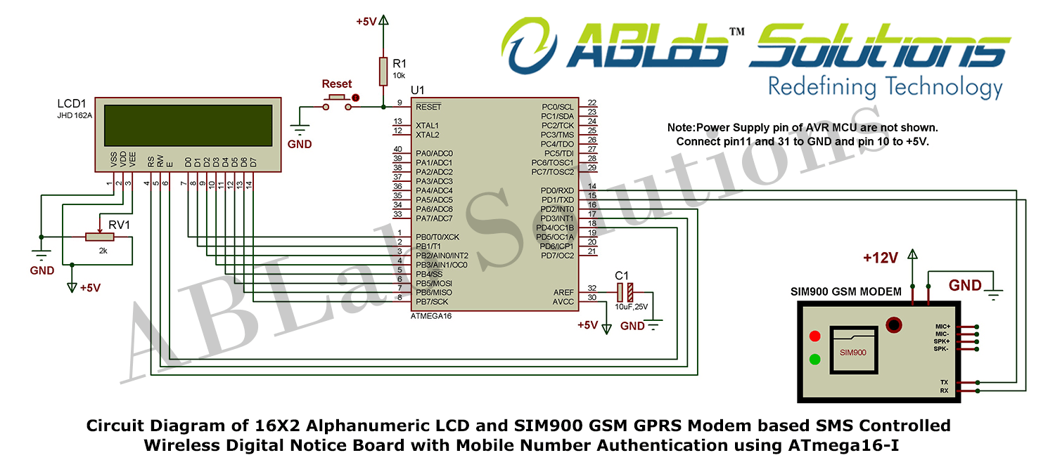 Gsm Modem Sim900 Circuit Diagram Schematic Diagrams Interfacing With 8051 Microcontroller At89c51 16x2 Alphanumeric Lcd And Gprs Based Sms Controlled