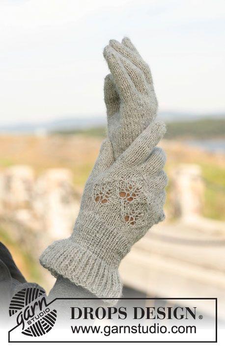 DIY Gestrickte Handschuhe mit Lochmuster ~ DROPS Design ...