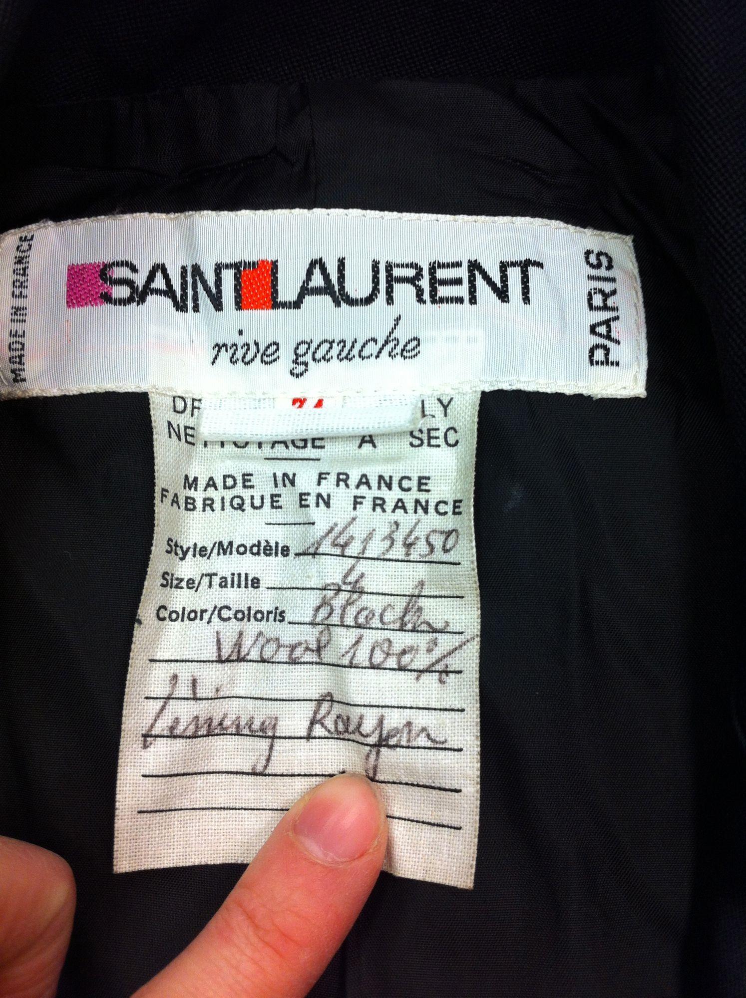 b4317618bca Vintage Yves Saint Laurent Rive Gauche label in a Kimono style tux jacket.  Sold at Malena's Vintage Boutique