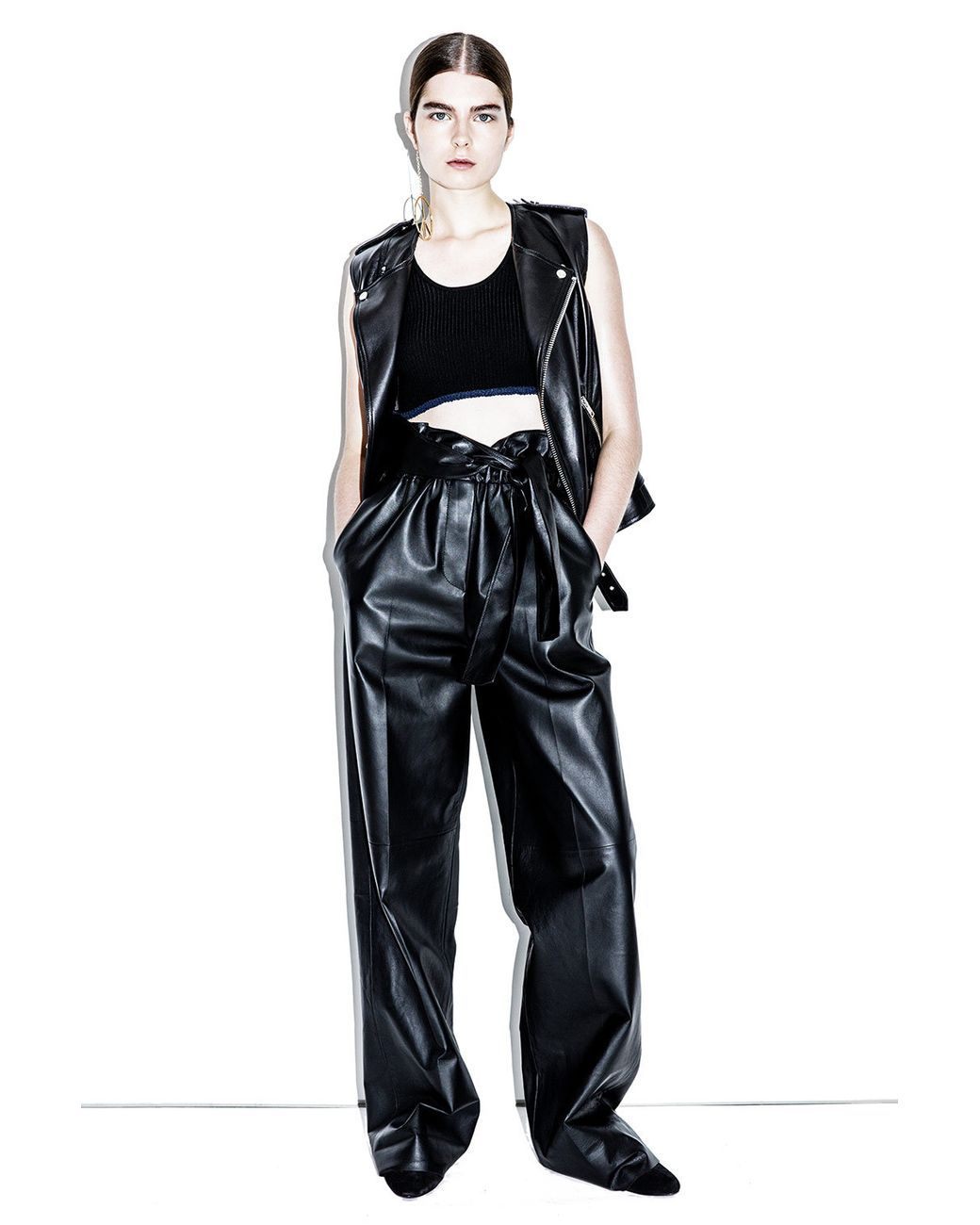 515a5cb0918b Women s Black High-waisted Leather Paper-bag Pant in 2019