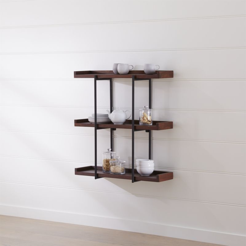"Beckett 36"" 3-Tier Wall Shelf Sable + Reviews | Crate and Barrel"