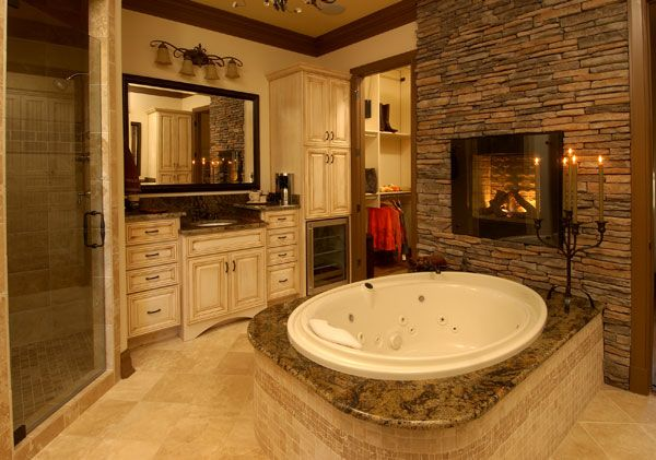 A Grand Master Bathroom With A Big Tub And Fireplace And I Couldn T Help But Notice What Every Bat Cozy Bathroom Bathroom Fireplace Master Bathroom Design