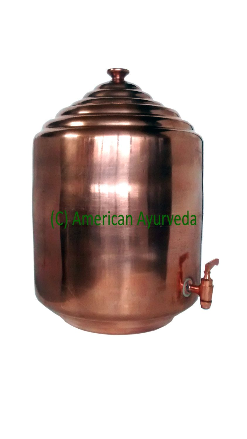 drinking water dispenser faucet. Hand Made Pure Copper Drinking Water Dispenser With brass faucet for Yoga  Healthy in