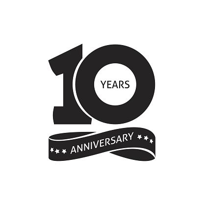 10 Years Anniversary Pictogram Vector Icon 10th Year Birthday Logo Label Black And White Stamp Isolated Birthday Logo Anniversary Logo 10 Year Anniversary