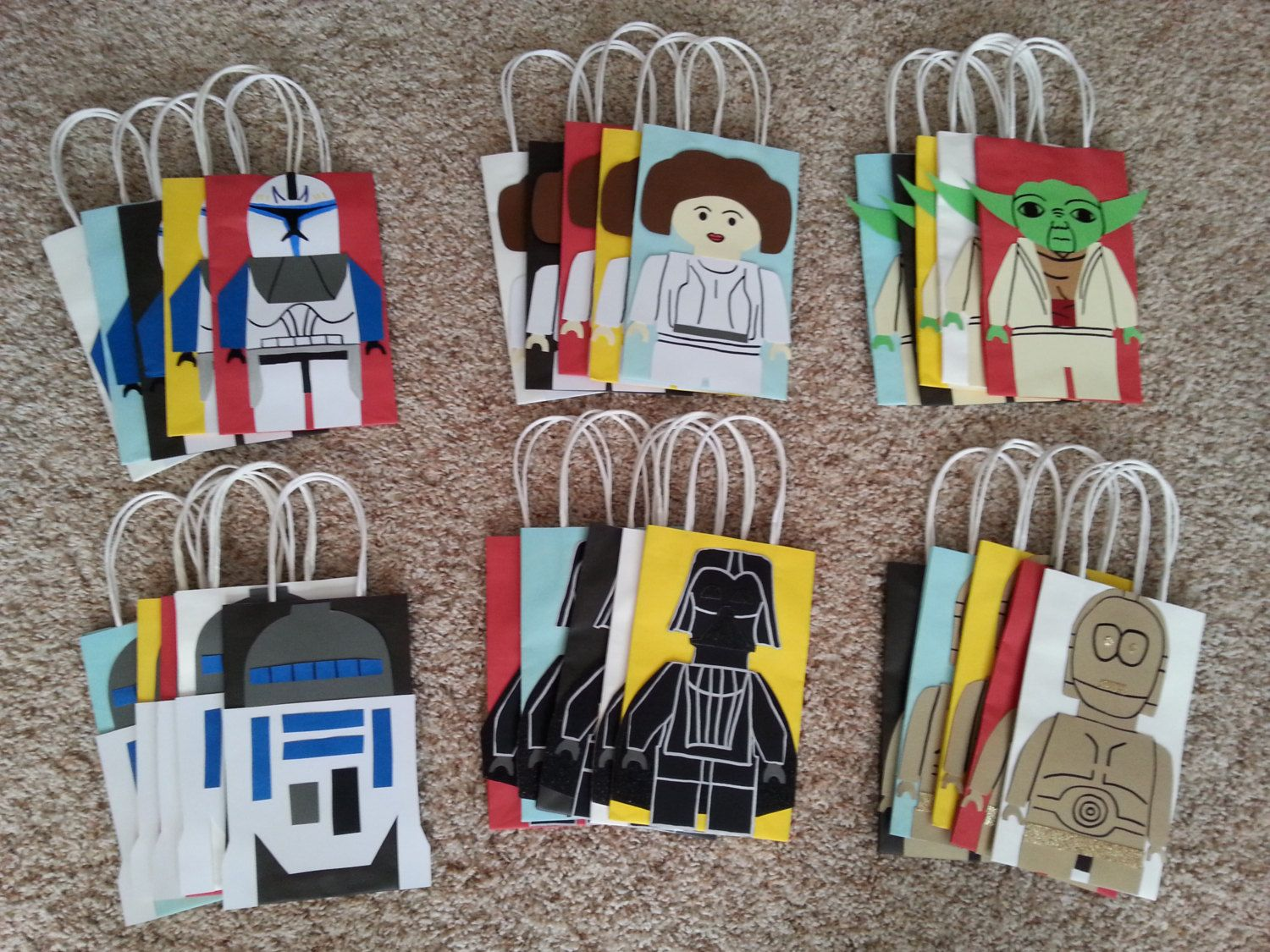 Star Themed Gifts Star Wars Lego Party Favor Gift Bags Set Of 6 By