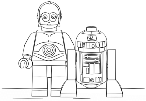 Lego R2D2 and C3PO coloring page from Lego Star Wars category ...