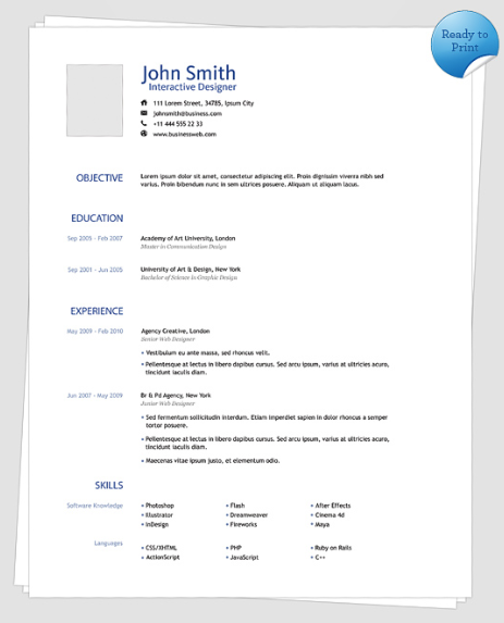 Clean One Page Resume Template  Creative Resume Templates