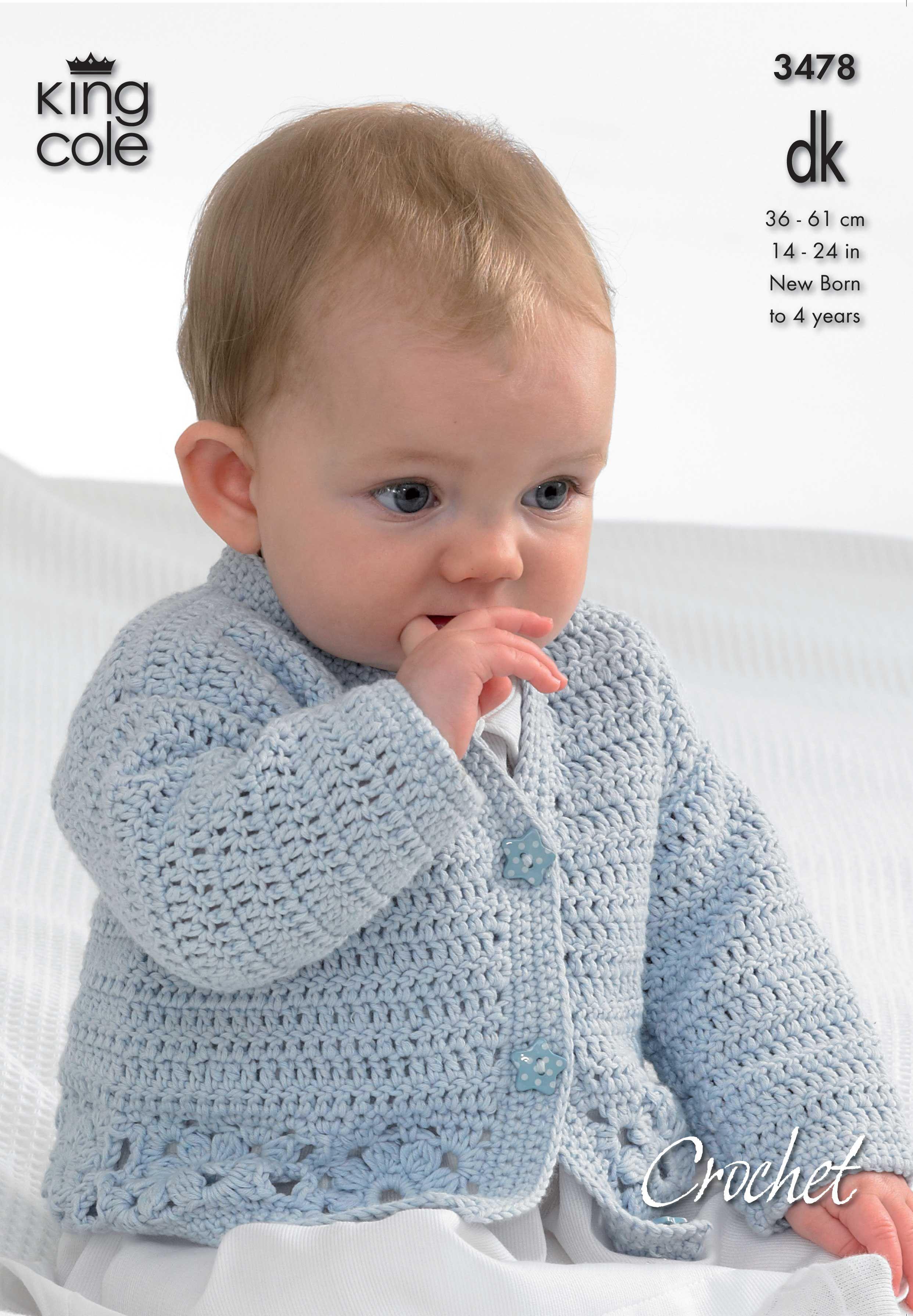222469764 Crochet baby cardigan- King Cole