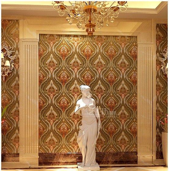 european golden golden wallpaper wall foil silver hotel rooms ktv tv setting wall luxury high