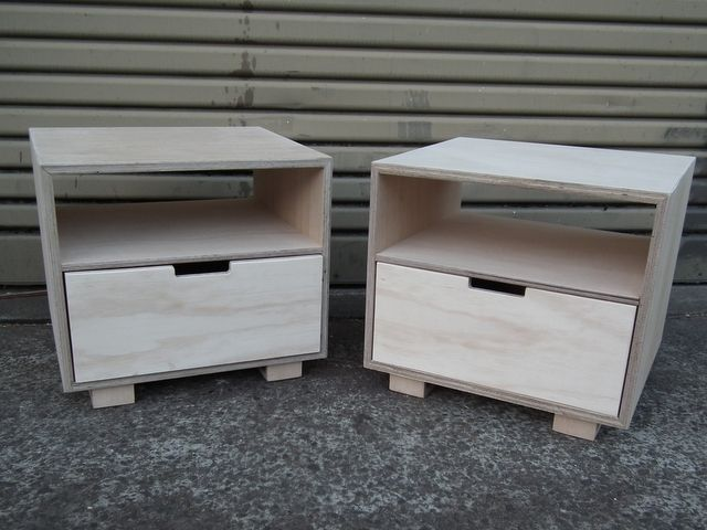 Handkrafted plywood bedside tables handmade by kirsten for Plywood bedside table
