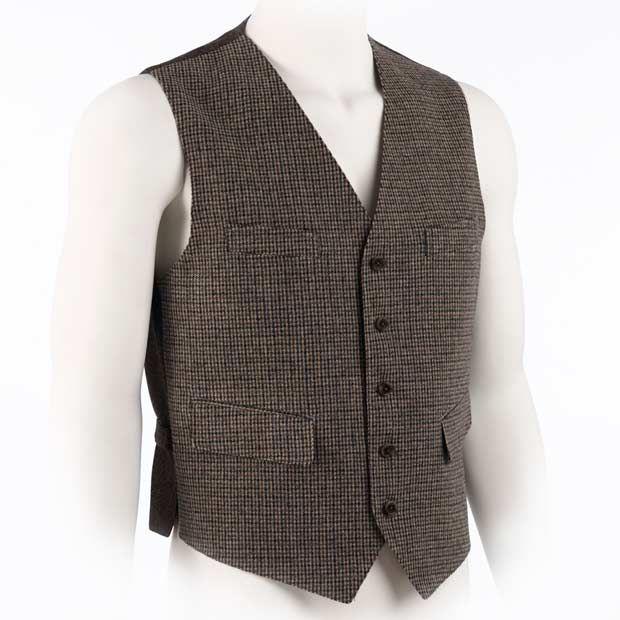 Allen Edmonds Wool Vest Collection Tan Blue Houndstooth