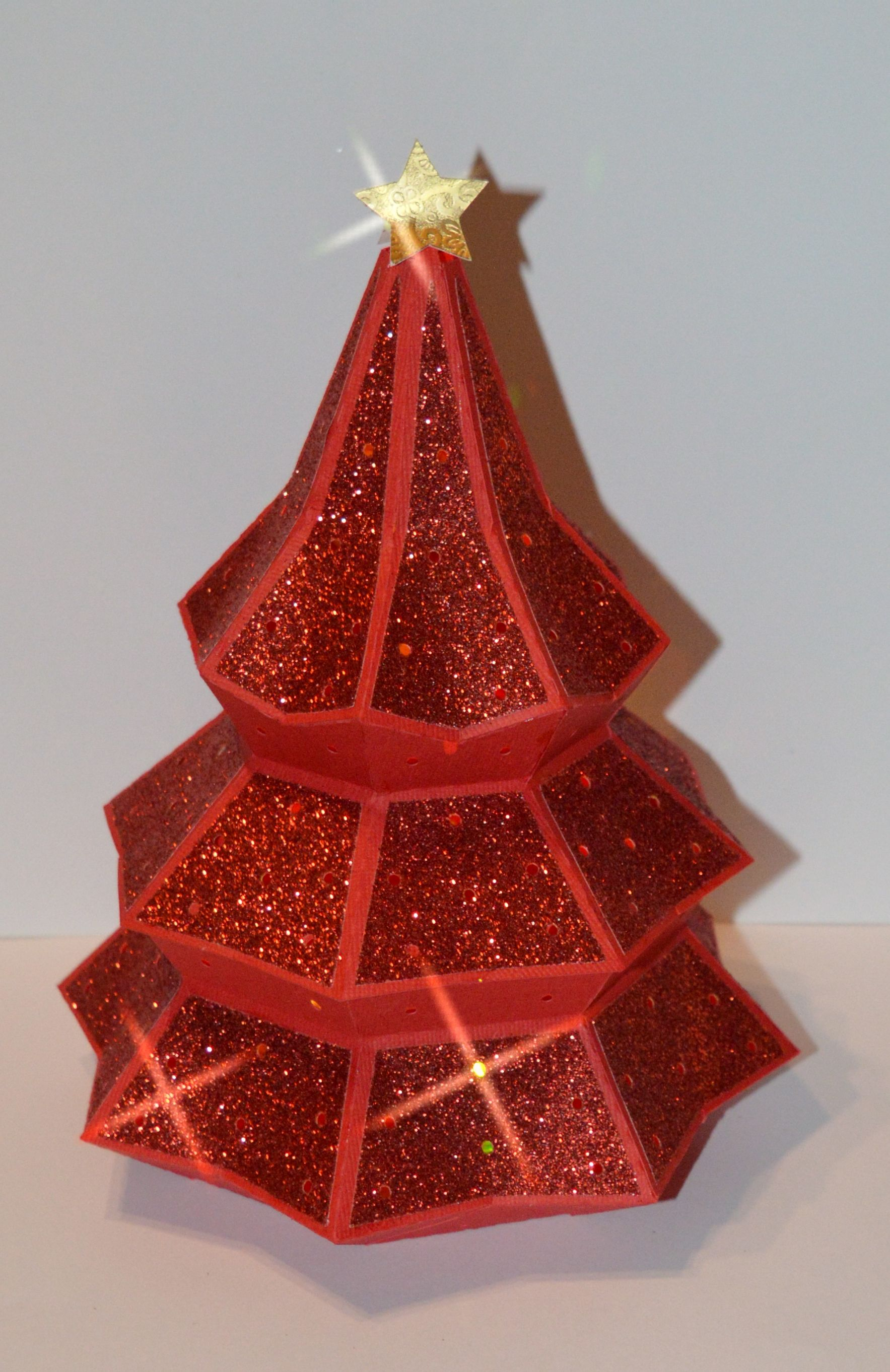 3D Christmas Tree with red glitter paper. Designed by