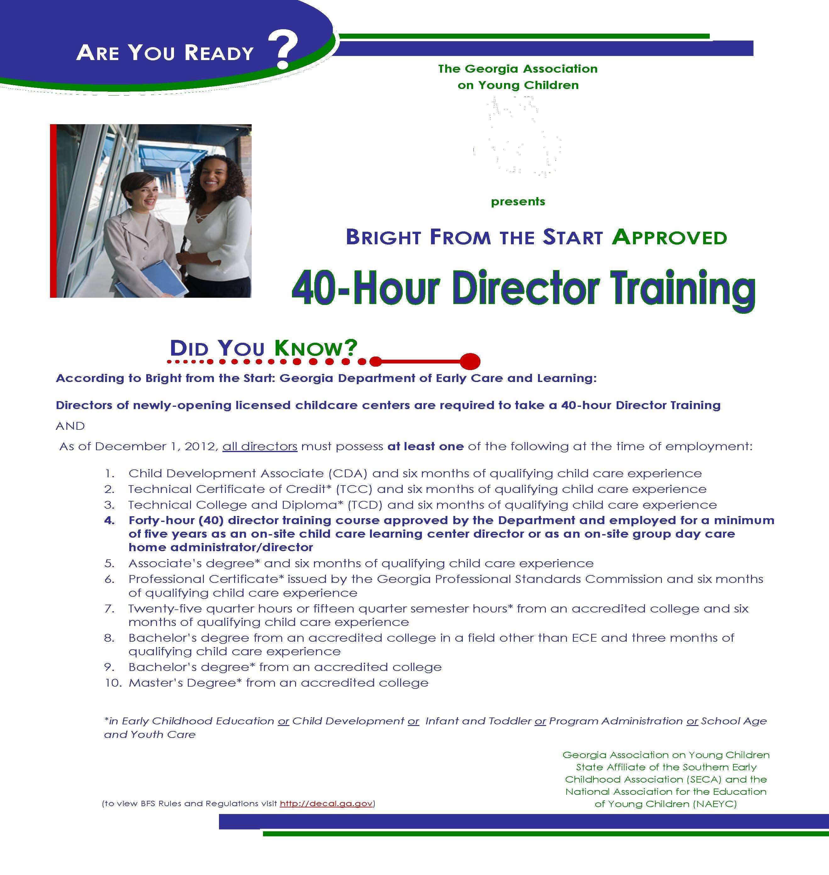 40 Hour Director Training Flyer 1st Grade Sheets Pinterest