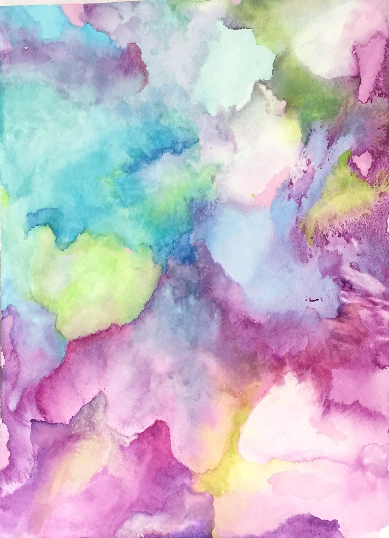 Original Affordable Watercolor Acrylic Abstract Painting 11x15 Unframed Wall Art With Blue Pink Green By Wordsmithstudios On Etsy
