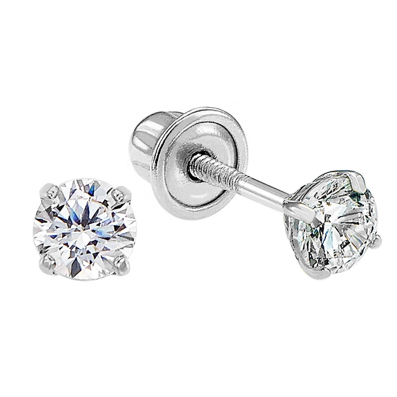 White SUMMER LOVE Platinum Plated Cubic Zirconia Halo Shape Gemstone Round Stud Earrings for Women /& Girls