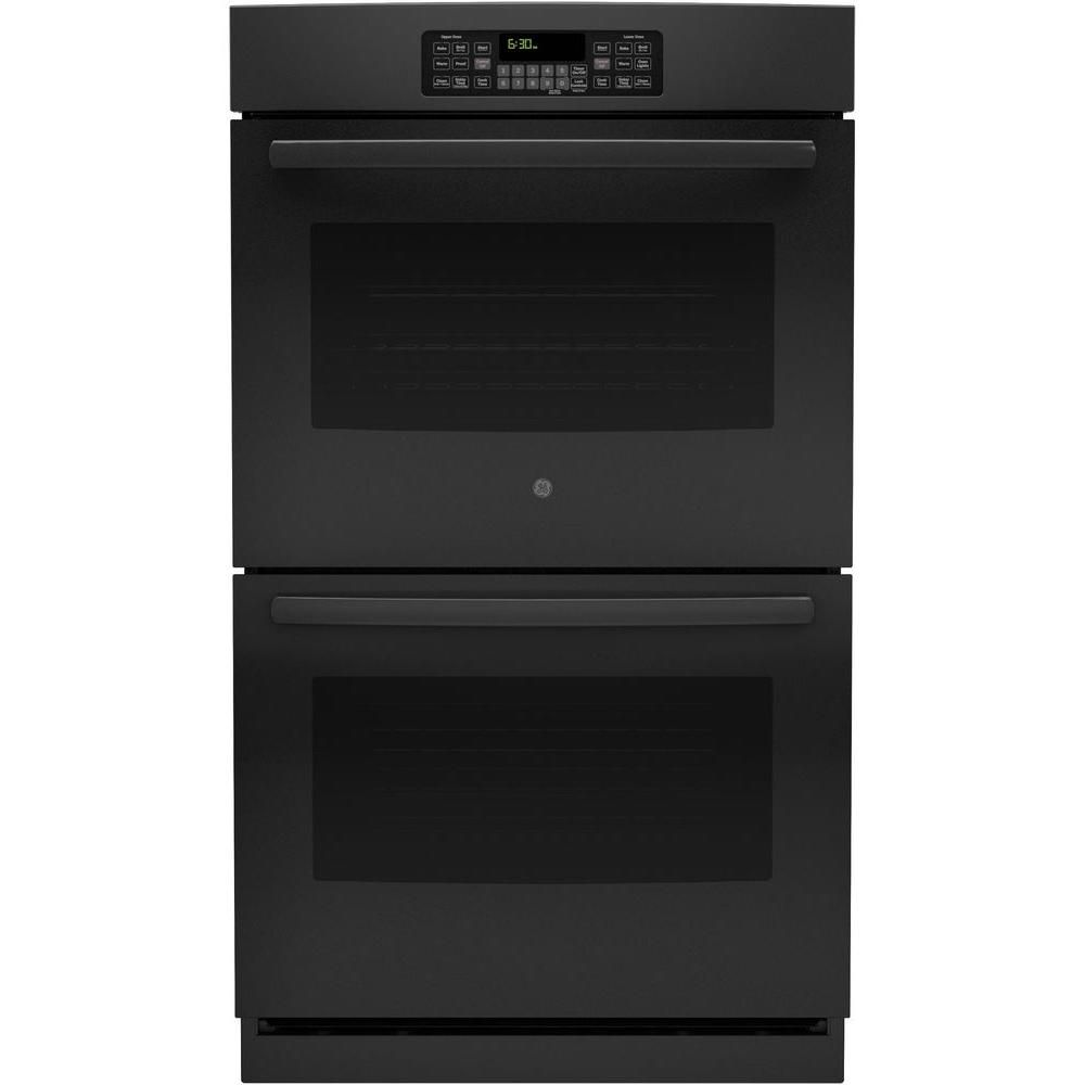Ge 30 In Double Electric Wall Oven Self Cleaning With Steam In Black Jt3500dfbb The Home Depot Double Electric Wall Oven Wall Oven Electric Wall Oven