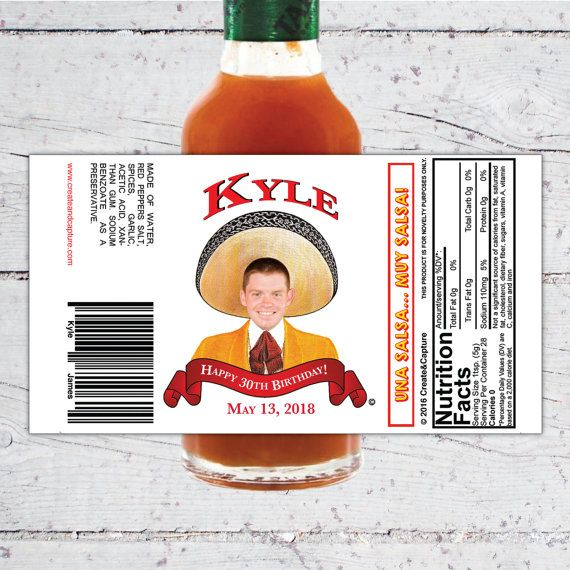 Tapatio Style Custom Hot Sauce Favor Labels Birthday Special Occion Favors
