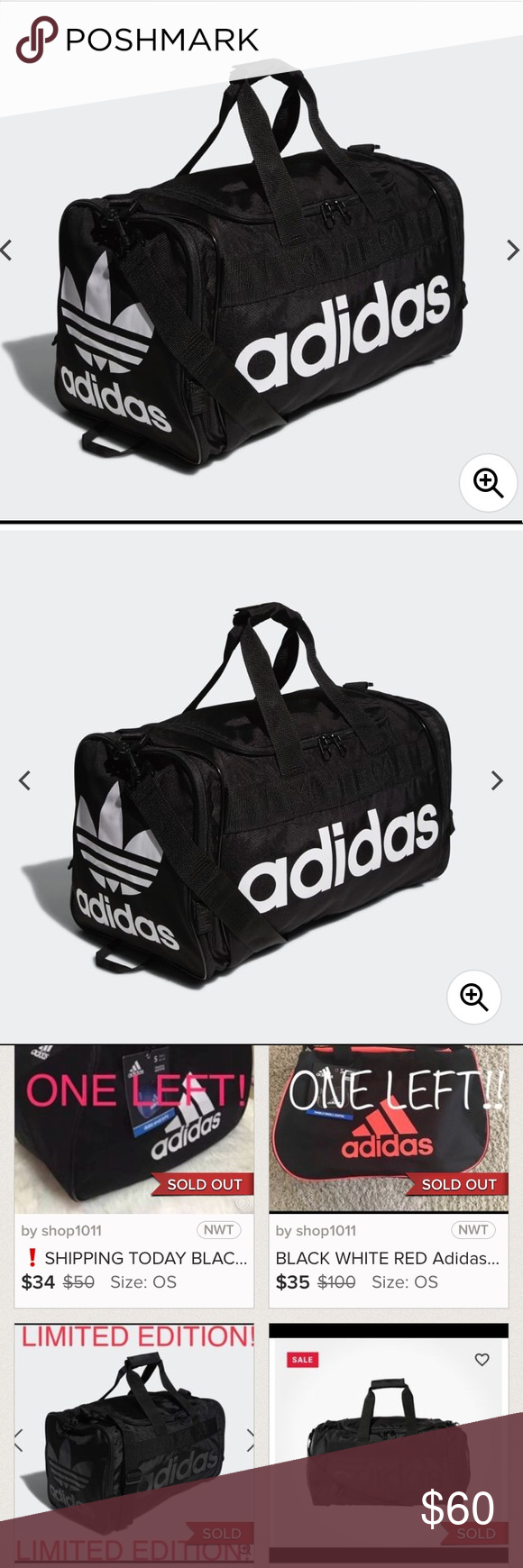 Large Adidas Duffle Travel Gym Bag Dimensions 21 5 X 11