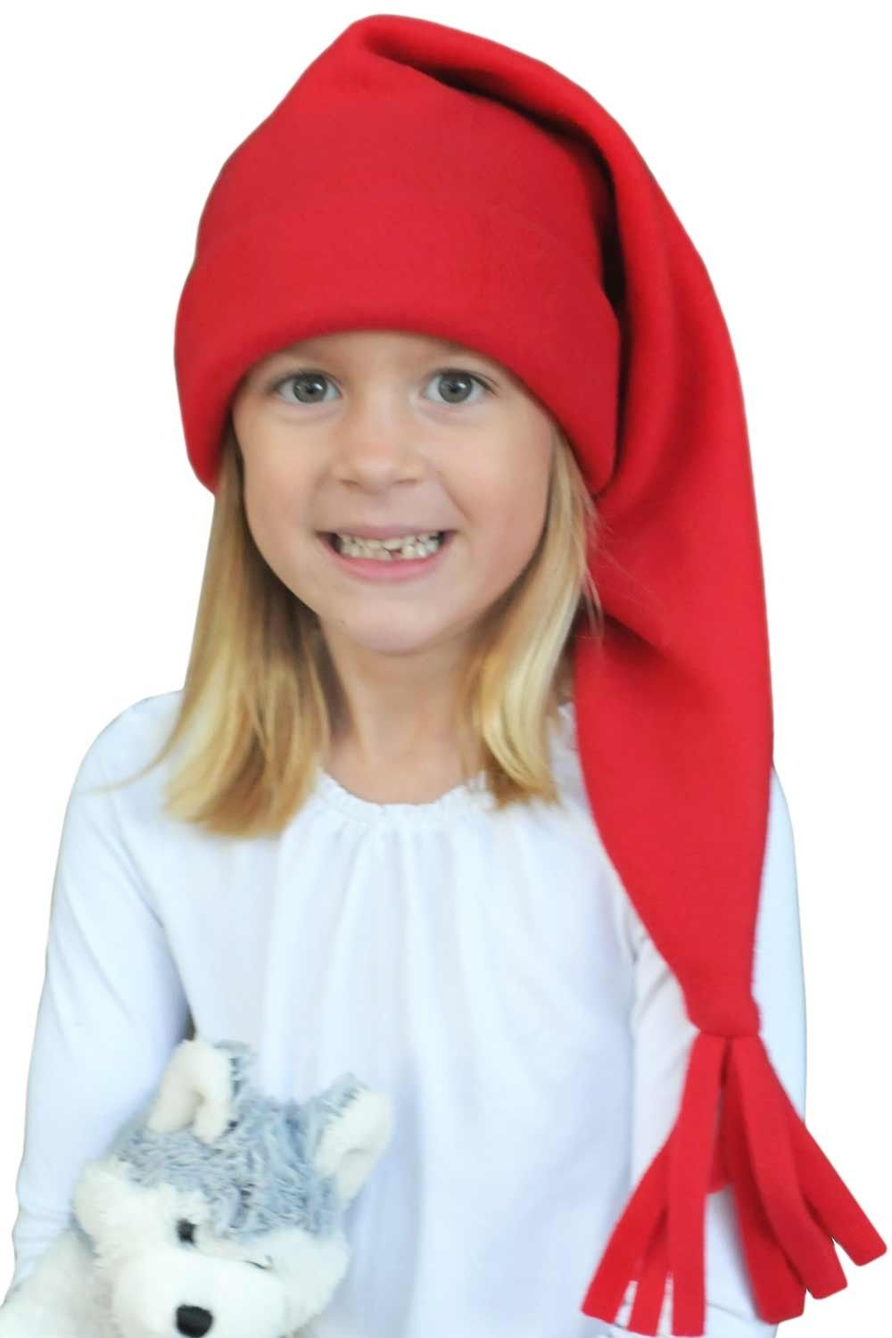 Fleece Santa cap for kids - classic elf stocking cap. Perfect for the  holidays! ea516825b74