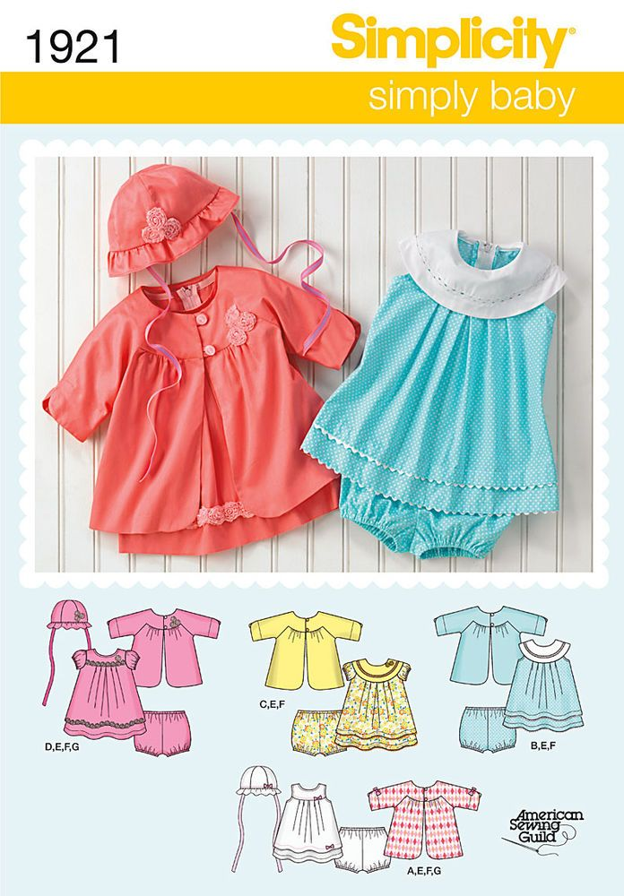 babies\' dress, panties, coat and hat sewing pattern… hat in three ...