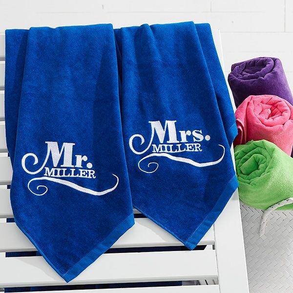 Mr Mrs Embroidered Beach Towel Set 36x72 Beach Towel Set