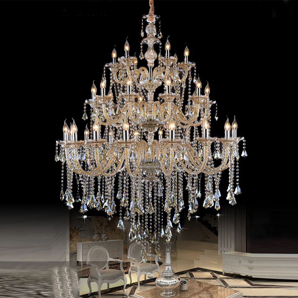 Large Crystal Chandelier Hotel Project Assembly Hall Crystal Chandeliers Church Luxury Blown Glass Chandelier Crystal Chandelier Dining Room Glass Chandelier