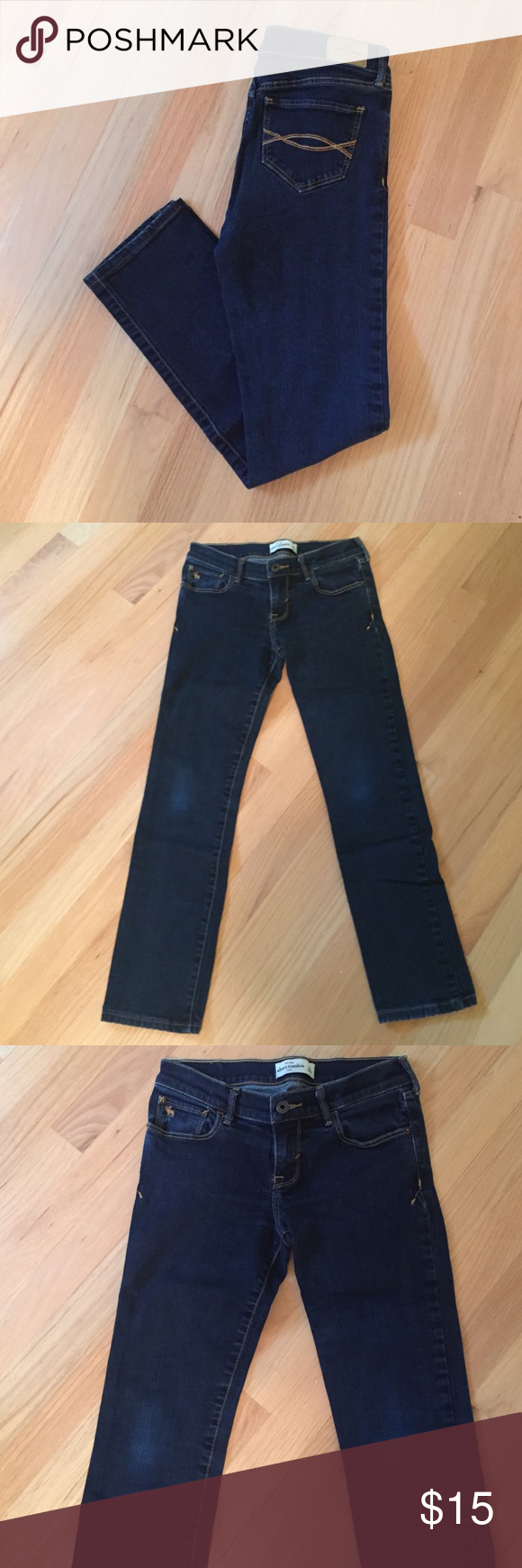 Abercrombie dark wash skinny jeans Great condition! abercrombie kids Bottoms Jeans