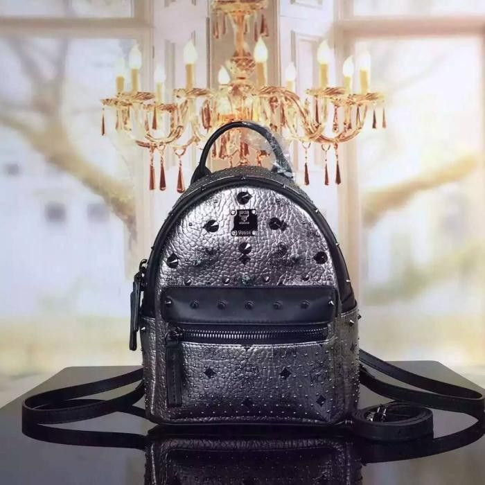 MCM X Mini Stark Special Crystal Studded Backpack In Silver