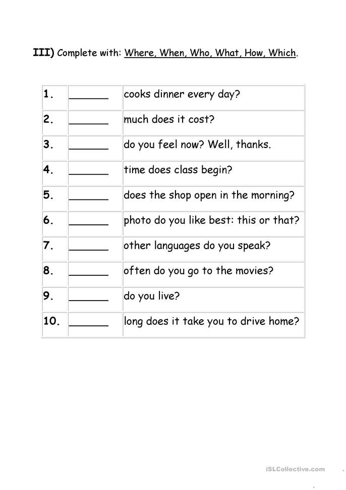 Kindergarten Wh Question Word Worksheets - teaching wh questions ...