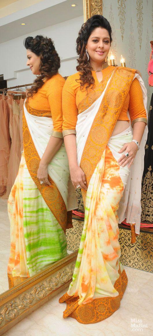 Nagma in a saree by Amy Billimoria | Beautiful indian ...