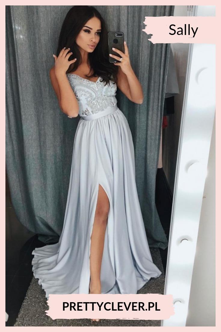 51be8d7eed0097 Przepiękna długa sukienka dla świadkowej i dla druhen na wesele. Góra  koronkowa wyszywana pojedynczymi cekinami