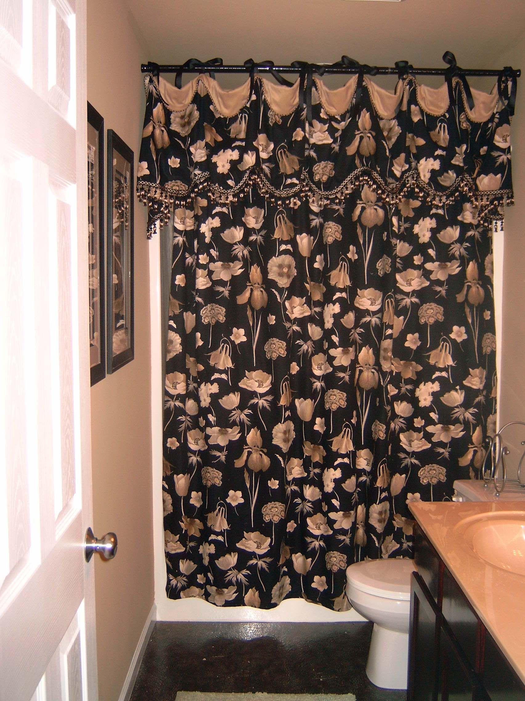Two Panel Shower Curtain With Valance Shower Curtain With