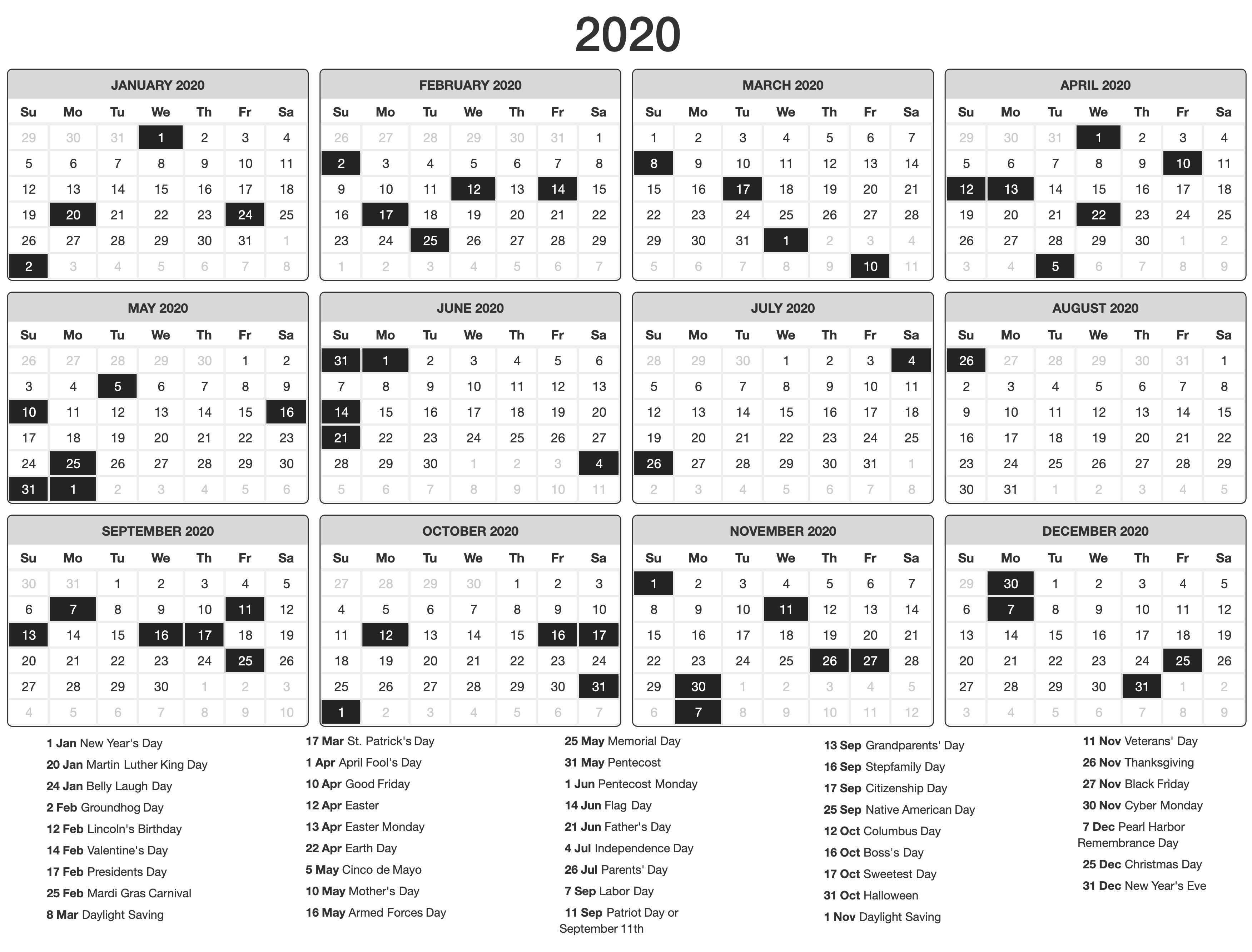 Free 2020 One Page Printable Calendar Calendar Printables Calendar Template Monthly Calendar Template