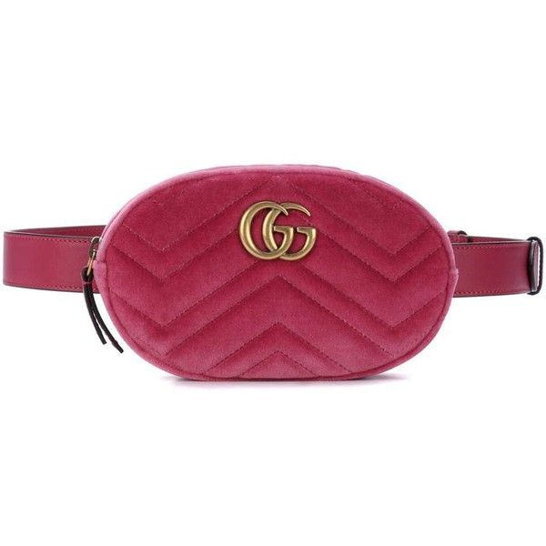 9a1335bb0757 Gucci Marmont Velvet Belt Bag (3,695 MYR) ❤ liked on Polyvore featuring  bags, pink, pink bag, purple bag, gucci and gucci bags