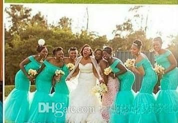 42d5cee2b66 Hot South Africa Style Nigerian Bridesmaid Dresses Plus Size Mermaid Maid  Of Honor Gowns For Wedding Off Shoulder Turquoise Tulle Dress-Bridesmaids  ...