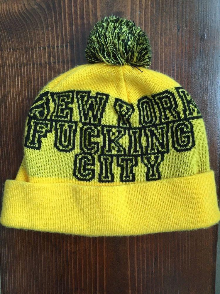 13f74e3d37e eBay  Sponsored Vintage Supreme Pom Pom Hat beanie 2005 f w NY FCKING CITY  OG vtg 2000 s